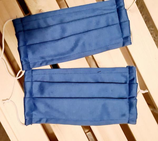 Mundschutz Stoffmaske Baumwolle 2er Set Blau