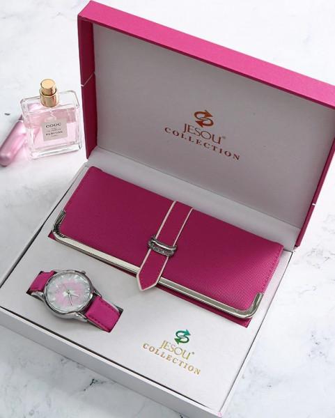 Geschenkset Box Uhr Portemonnaie Ohrringe für Frauen