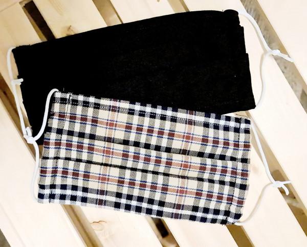 Mundschutz Stoffmaske Baumwolle 2er Set Schwarz Braun