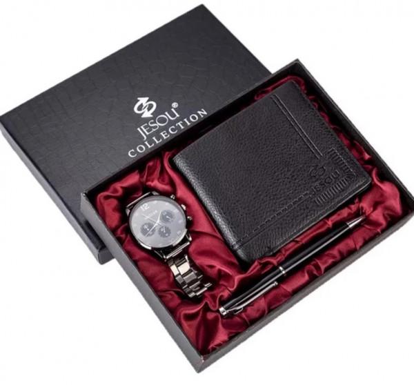 Geschenkset Box Uhr Portemonnaie Schreiber für Ihn