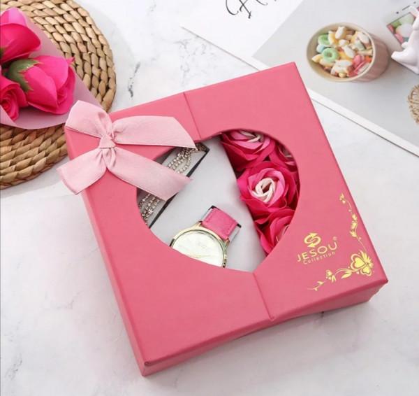 Geschenkset Box Uhr Armband Pink für Sie